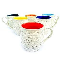 MPU Value Mart Marble Finish Kullhad Shape Coffee Mugs, 130 ml, Set of 6 Pieces, Multicolour