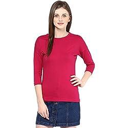 Hypernation Dark Pink Round Neck Cotton T-shirt For Women