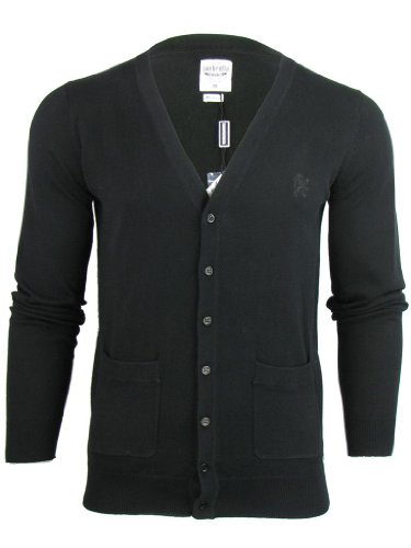 Mens Lambretta Mod Retro Plain Knitt Cardigan Jumper Fine Gauge [Medium]