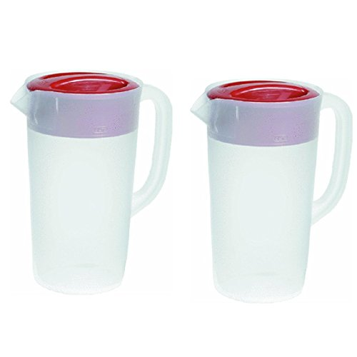 Rubbermaid Covered Pitcher 2.25 Qt - White with Red Cover Pack of 2 (Pitcher Rubbermaid compare prices)