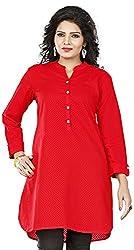 Twinkal Women's Cotton Straight Kurti / Kurta(TWKR00080-83_M, Red, M)