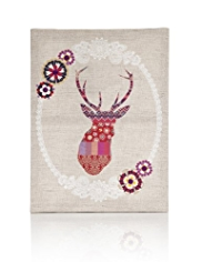 Linen Stag Canvas Wall Art