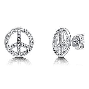 BERRICLE Sterling Silver Cubic Zirconia CZ Peace Sign Fashion Stud Earrings