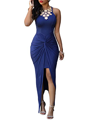 Cfanny Women's Knotted Front Slit Cocktail Dress,Blue,Medium