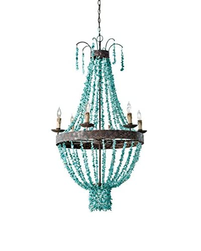 Home Philosophy Beaded 6-Light Turquoise Chandelier, Turquoise
