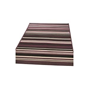 4 Sizes Available - Element - Canterbury Purple/Black - Good Quality Stripe Rug from Flair Rugs
