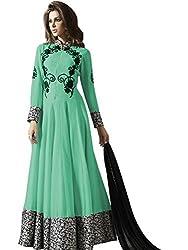 pakiza design new green georgette partywear chain long anarkali suit dress material