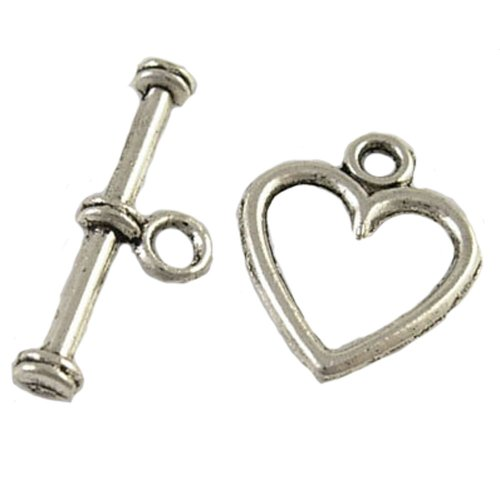 DIY Jewelry Making: 12 Pieces of Tibetan Heart Bracelet and Necklace Toggle Clasps, Antique Silver