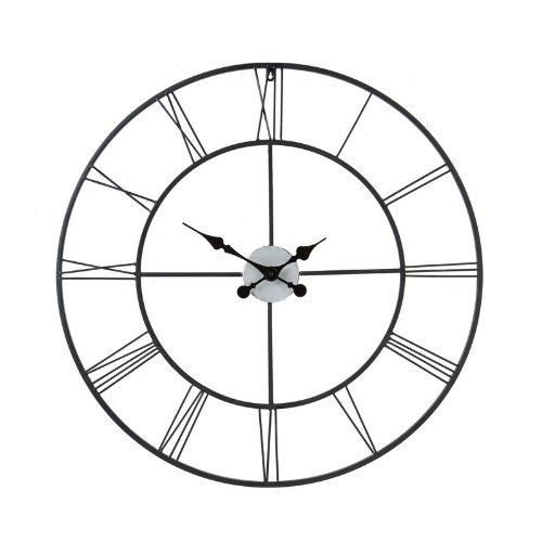 Decorative Wall Clock in Black Powder-Coated Metal