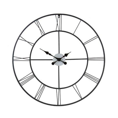 Decorative Wall Clock in Black Powder-Coated Metal