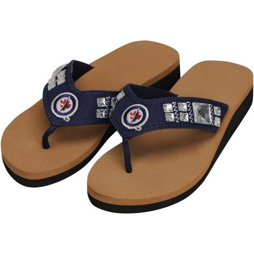 Winnipeg Jets Ladies Wedge Jewel Flip Flops - Navy Blue