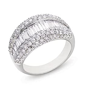 14K White Gold 2.78cttw Round Diamond Fashion Ring