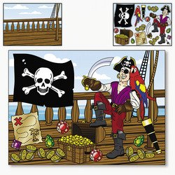MAKE a PIRATE SCENE Sticker Sheets/CRAFT ACTIVITY/PARTY FAVORS/After School/Scouting - 1