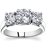 1.93 Ct Ladies Round Cut Diamond Three Stone Engagement Ring 18 kt White Gold