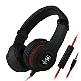NUBWO N8 Headphones Headset, In-line Mic and Volume Control, Comfortable, Lightweight Adjustable for PC and Smartphones (black)