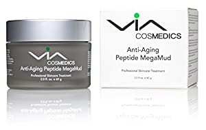 Anti-Aging Peptide Mega Mud | Rejuvenating Clay Mask Enhanced with Matrixyl®, Argireline®, Hyaluronic Acid, Botanical Extracts | Gently Extracts Impurities and Minimizes Pores | Tightens and Smooths Skin | Professional Skincare Treatment