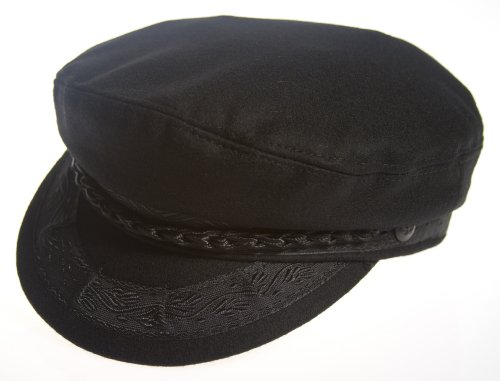 Aegean Authentic Greek Fisherman's Cap - Wool - Black - Size 58 - (7 1/4)