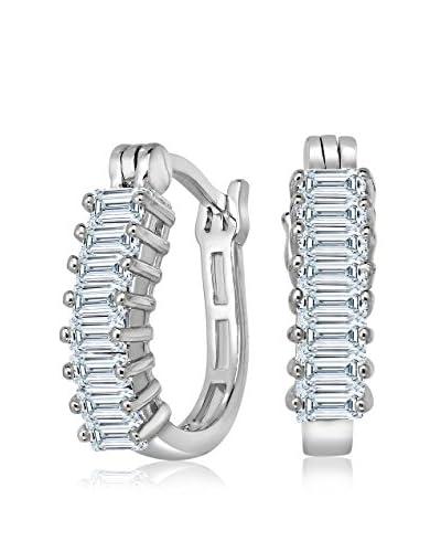 Genevive Sterling Silver & CZ & Baguette Hoop Earrings