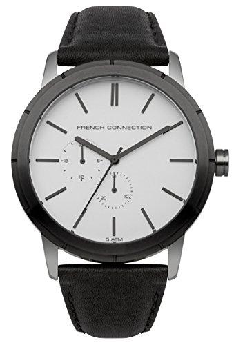 French Connection Hombre Reloj de cuarzo con Esfera Analógica Gris y Negro Correa de piel fc1261bea