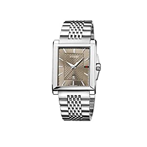 Gucci Men's YA138402 Gucci G-Timeless Rectangle Analog Display Swiss Quartz Silver Watch