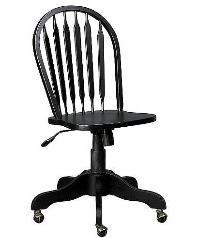 Carolina Cottage Antique Black Desk Chair with Casters