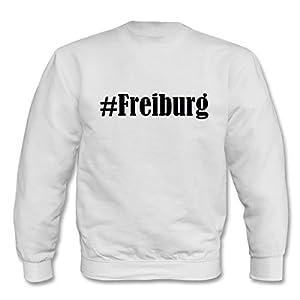 """Sweatshirt Hashtag """"#Freiburg"""" für Damen Herren und Kinder ... in den Farben Schwarz Weiss Blau mit Aufdruck"""