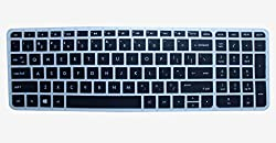 Neon Laptop Keyboard skin Silicon Rubber Protector cover for HP Pavilion 15-AF114AU 15.6-inch Laptop (Black/Clear)