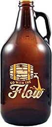 Go with the flow - Amber Glass Beer Growler, 64 oz - By 30 Watt