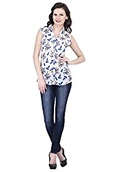 Trendif White Poly Georgette Leaf Print Sleeveless Shirt