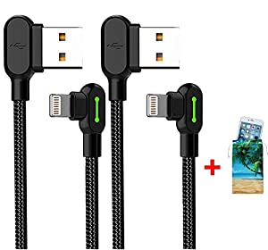 (2 Pack + iPhone Bag) USB 90 Degree Right Angle Design Gaming iPhone LED Nylon Braided Sync Charge New USB Reversible Data 6FT/1.8M Cable Compatible iPhone/iPad Pro/Air,iPad Mini,iPod (6FT Black) (Color: 6FT Black, Tamaño: 6 Feet)
