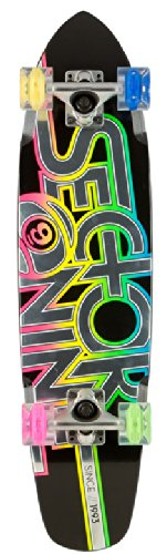 "Sector 9 Wedge Glow Complete Skateboard, Black, 31.3"" L X 7.25"" W X 15.5"" Wb"