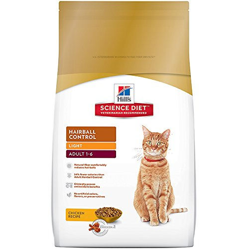 Hill's Science Diet Adult Hairball Control Light Chicken Recipe Dry Cat Food, 15.5 lb bag