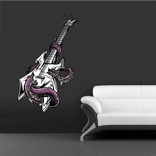 Full Color Wall Decal Mural Sticker Decor Art Poster Guitar Music Octopus Poulpe Tentacles (Col343) front-972619