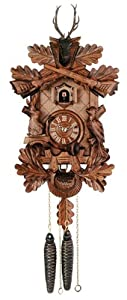 River City Clocks 19-16Q Hunter'S Cuckoo Clock with Hand-Carved Oak Leaves, Bunny, Bird, And Crossed Rifles, And Buck, 16-Inch Tall from River City Clocks
