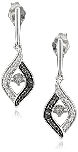 Sterling Silver Black and White Dancing Diamond Dangle Earrings (1/10 cttw)