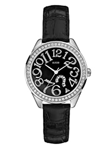 GUESS - G76030L - Analogique - Montre Femme - Bracelet en cuir noir