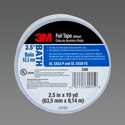 3m 3340 B Foil Tape 3340 B Silver 2 1 2 In X 10 Yd 4 0