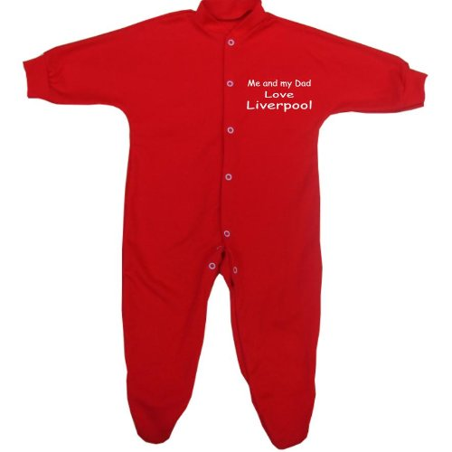 Me and my Dad Love Liverpool Baby Sleepsuit Babygro Newborn -12 mths in 9 Colours