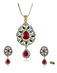 Multicolor Stone Party Collection 22k Gold And Rhodium Plated Cubic Zirconia Pendant Set For Women By Lazreena...