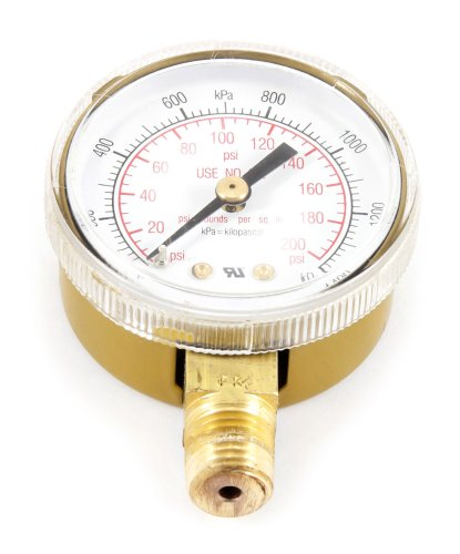 Forney 87729 Oxygen Gauge, Low Pressure, 2-Inch-by-1/4-Inch NPT, 0-200 PSI