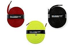 Flat Shoe Laces - 3 Pair Set (Red Black Florescent shoe lace)