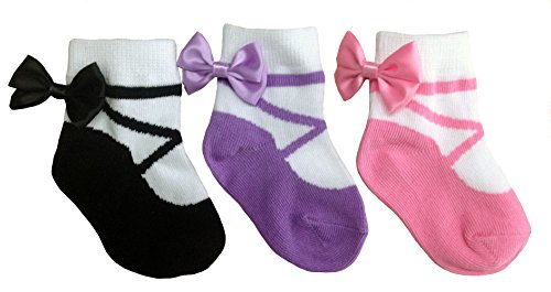 Baby Emporio - Baby Girl Socks that look like Shoes-Gift Box-3 pr (0-9 Months, Ballerina)