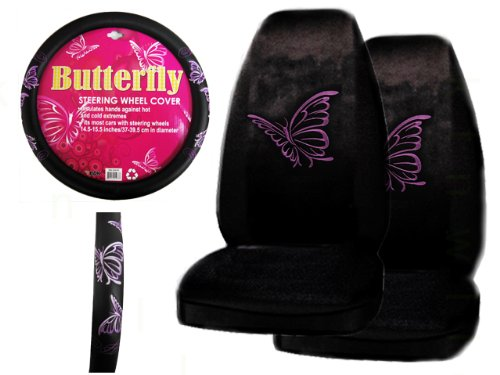 A Set of 2 Universal Fit Seat Covers and 1 Comfort Grip Steering Wheel Cover - Multiple Purple Butterflies (Purple Fairy Seat Covers compare prices)