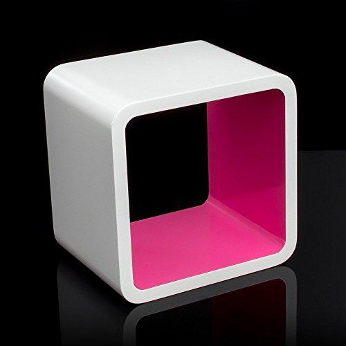 Homestyle4u Cube Wandregal Regal Bücherregal Hängeregal Retro Design weiss Pink