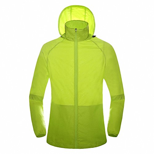 Maoko Sports Outdoor Running Windbreaker Jacket with Hood- Lightweight Sun UV Protection Limegreen (Squamish Hooded compare prices)