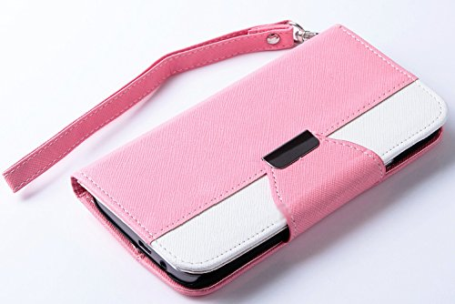 Mylife Bubblegum Pink And Bright White {Two Color Classic Design} Faux Leather (Card, Cash And Id Holder + Magnetic Closing) Slim Wallet For The All-New Htc One M8 Android Smartphone - Aka, 2Nd Gen Htc One (External Textured Synthetic Leather With Magneti
