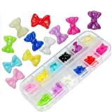 CyberStyle(TM) 60 Acrylic Butterfly Bow Tie Nail Art Decoration