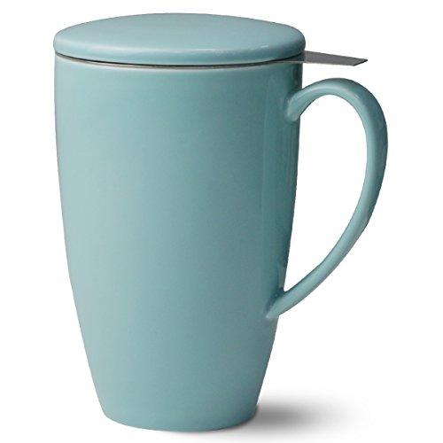porcelain tea mug with infuser ceramic cup w stainless steel filter and lid ebay. Black Bedroom Furniture Sets. Home Design Ideas