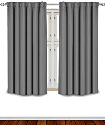 Blackout Room Darkening Curtains Window Panel Drapes -Grey 2 Panel Set-52x63 Inch - By Utopia Bedding
