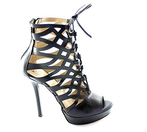 DIVINE FOLLIE 401772 nero sandali donna tronchetti forati tacco plateaux 39